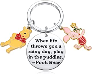 Winnie The Pooh Gift Pooh Bear Piglet Keychain Decor Party Suppiles - When Life Throws You a Rainy Day, Play in The Puddle...