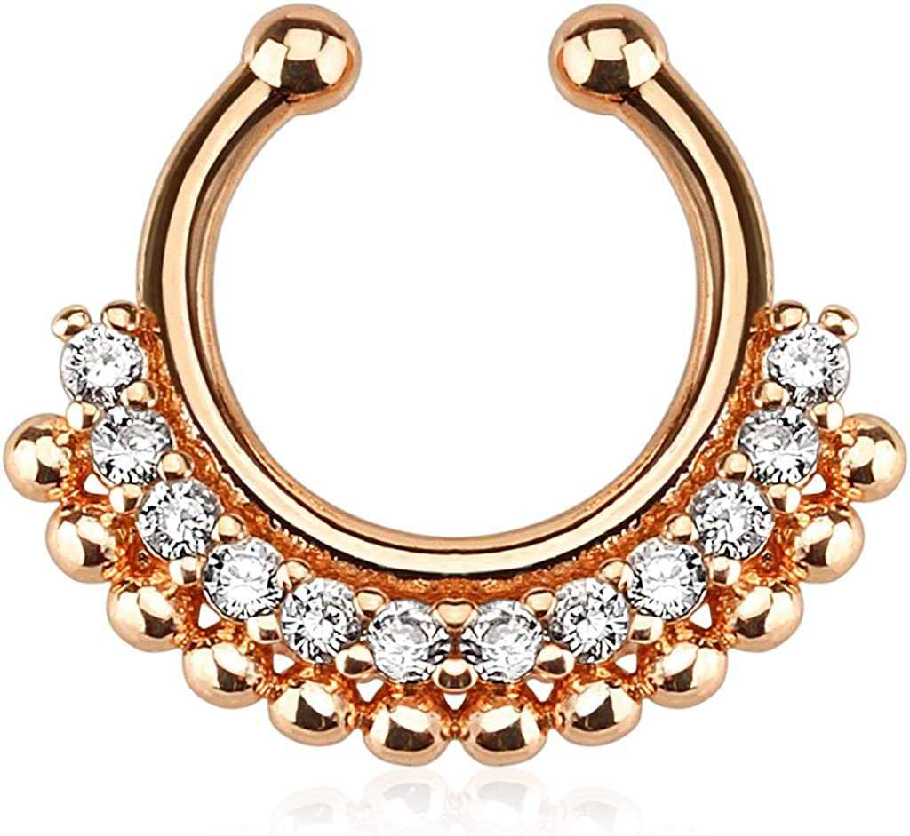 Brass San Francisco Mall with Rose Gold 55% OFF IP Plating Fake Clicker Septum On Non Clip