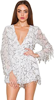Miss ord Long Sleeve Slim Soft Lining Casual Jumpsuit Romper with Sequins