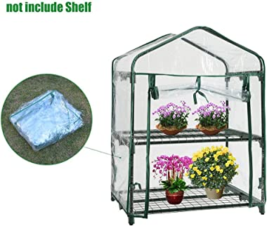 Beeant Mini Greenhouse-PVC 2-Tier Indoor Outdoor Sturdy Portable Shelves-Grow Plants, Seedlings, Herbs, or Flowers in Any Season-Gardening Rack