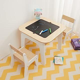 مجموعة طاولات وكراسي تخزين خشبية من توفي آند فريندز، مجموعة أثاث طاولة 3 في 1 قابلة للتحويل مع مساحة تخزين للأطفال الصغار،...