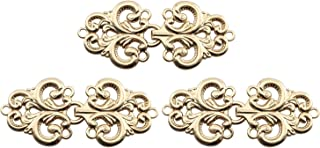 JCBIZ 3 Pair of 6830mm Metal Button Clasp Fasteners Gold Hooks and Eyes Cardigan Clip Alloy Disc Fastener for Button of Chinese Traditional Dress and Cheongsam