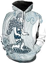 Unisex Hoodie 3D Print Wave Doodle Beard Sherpa Lined Fleece Sweatshirt Size 5XL