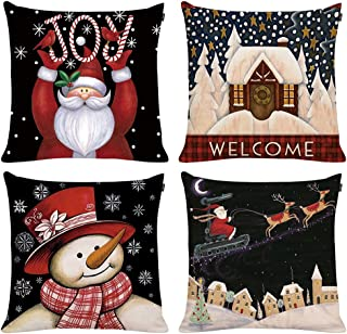 GTEXT 4 Pack Christmas Throw Pillow Cover Holiday Decor Snowman Xmas DeerFarmhouse Chrismtas Trees Pillow Cover Cuhion Cover Case for Couch Sofa Home Decoration Pillows Linen 18 X 18 Inches