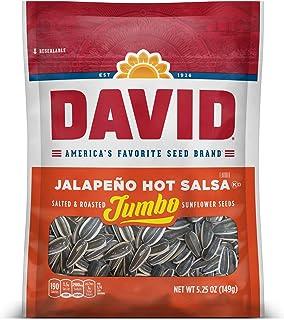 DAVID Roasted and Salted Jalapeño Hot Salsa Jumbo Sunflower Seeds, Keto Friendly, 5.25 oz, 12 Pack