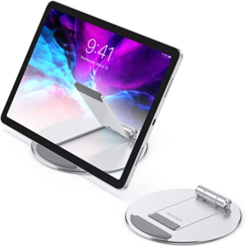 Adjustable Tablet Stand, OMOTON Aluminum Desktop Tablet Cellphone Stand with Anti-Slip Base, Portable Stand Holder fo...