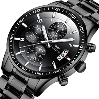 OLMECA Men's Watches Luxury Sports Casual Fashion Quartz Wristwatches Waterproof Chronograph Calendar Date Stainless Steel Band Black Color