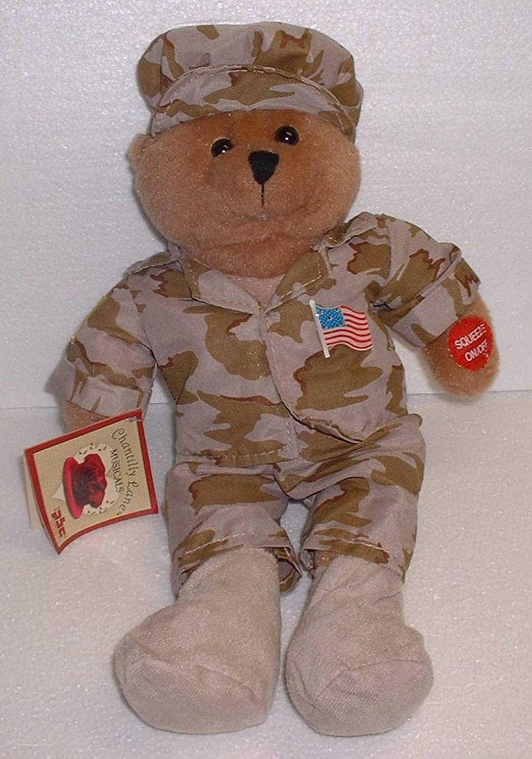 US Military Desert Fatigue Teddy Bear Plays God Bless the USA by Chantilly Lane
