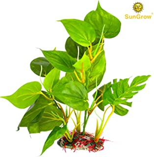 SunGrow Plastic Leaf Plant for Freshwater or Marine Tanks, Ultra-Realistic Fake Plant, Blunt Leaf Edges Protect Fish Fins, Pet-Safe Silk Leaves, Hiding Spot for Fish, Reptiles, Amphibians