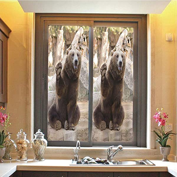 Bear 3D No Glue Static Decorative Privacy Window Films Friendly Animal Sitting And Waving A Paw In The Zoo Cute Funny Wild Mammal Gesture Decorative 17 7 X48 For Home Office Decor Brown Beige