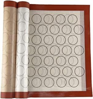 DishyKooker Tapis de cuisson antiadhésif en fibre de verre et silicone 60 x 40 cm, Silicone Verre, Macaron marron bord rou...