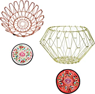 YOVQNMX Lot de 2 boîtes de rangement en métal pour fruits et bowl (or + or rose)
