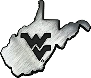 NCAA Collegiate Metal Auto Emblem (New Brushed Matte Style) (West Virginia (State Shape))