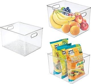 Zeeych Lot de 3 boîtes de rangement en plastique transparent avec poignées pour réfrigérateur, armoire, congélateur, burea...