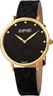 August Steiner AS8242 Diamond Studded Dial Women's Watch – with Floral Embossed Genuine Leather Bracelet Band -