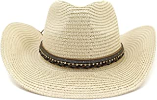 Sun Hat for men and women Men's & Women's New Summer Hat Gem Panama Hat Hollowed Out Straw Hat Leather Fedora Large Beach Jazz Dance Hat