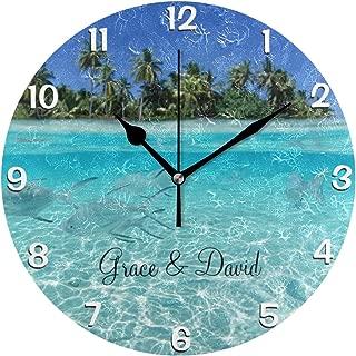 時計 壁掛け 壁掛け時計 掛け時計 モダン 壁時計 掛時計 デザイン時計 無音時計 連続秒針 静音 オシャレ 水ビーチの時計の下の魚の水泳