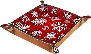 ATOMO Plateau de rangement en cuir flocon de neige sur fond rouge - 01 - Pour ranger des bijoux, des articles divers, des ...