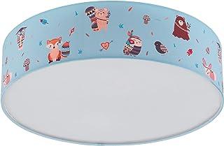 Lámpara de techo Ruffo de EGLO de tela, lámpara infantil con diseño de animales, decoración para habitación infantil, para niños y niñas, lámpara de techo para habitación infantil, multicolor