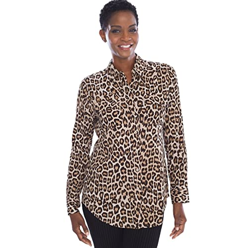 Chico s Women s Silky Soft Long Sleeve Button-Up Shirt Blouse a5637db28