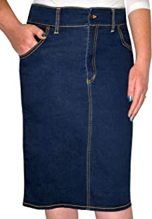 Kid's Big Girls' Modest Knee Length Stretch Denim Pencil Skirt No Slits