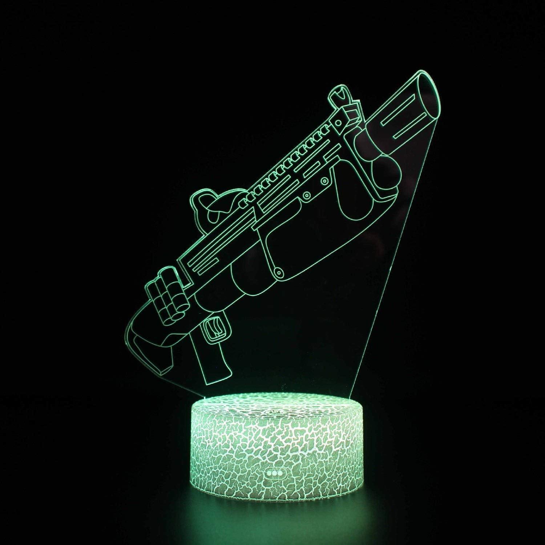 WJXBoos 3D Gun Night Light pour Enfants avec télécommande et Smart Touch 16 Couleurs changeantes et dimmable Cadeaux d'anniversaire de Noël pour garçons Filles (Couleur: B) 1
