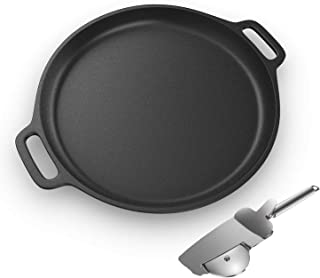 Pre-Seasoned Cast Iron Pizza and Baking Pan with 4 in 1 Pizza Cutter Wheel -13.5 inch Round Nonstick Skillet Pan for Grill...
