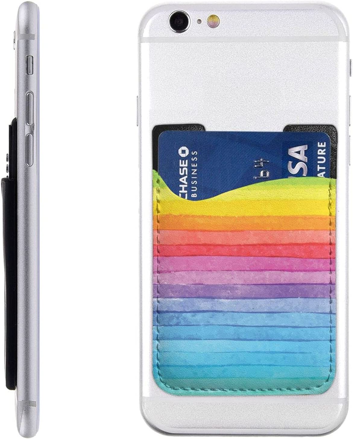 Max 52% Deluxe OFF Rainbow Colored Striped Phone Card Holder On Ca Cell Stick