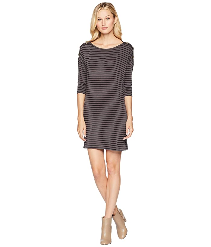 American Rose Mae 3/4 Sleeve Dress w/ Buttons (Black/Charcoal) Women