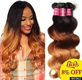 Nadula 8A Grade Brazilian 3 Tone Ombre Color 1B/4/27# Body Wave Hair 3 Bundles Cheap Brazilian Virgin Human Hair Products 100+/-5g/pcs Weave Extensions Natural Color (16 18 20)