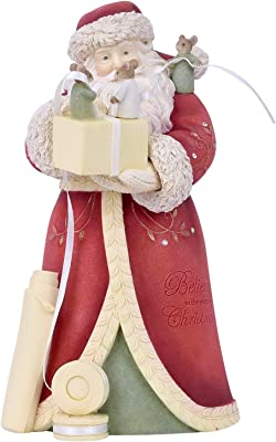 Enesco Heart of Christmas a Perfect Bow Santa Figurine, 7.95 Inch, Multicolor