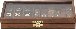 Deco 79 19075 别致木质玻璃游戏盒,22.86 厘米宽 x 5.08 厘米高