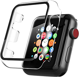 LFAND Hard Case Compatible for Apple Watch Series 3/2 42mm with Glass Screen Protector Accessories ,All Around Hard PC Case Overall Protective Cover Compatible with iWatch (42mm, Clear)
