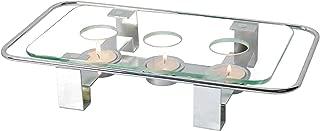 NewlineNY Chrome Plated Glass Dish Warmer, Rectangular Glass-Top 3 Holes Tea Light Votive Candle Gourmet Food Warmer