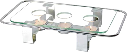 NewlineNY Chrome Plated Glass Dish Warmer, Rectangular Glass-Top 3 Holes Tea Light Votive Candle Gourmet Food Warmer