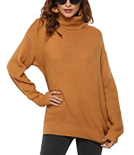 Finyosee Womens Warm Causal Long Sleeve Turtleneck Chunky Knit Loose Pullover Sweater