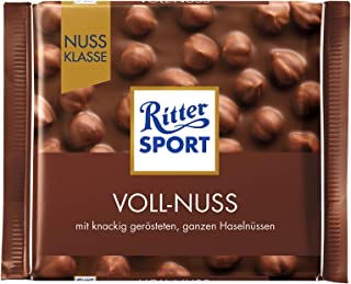 Ritter Sport Whole Hazelnuts Chocolate Bar Candy Original German Chocolate 100g/3.52oz