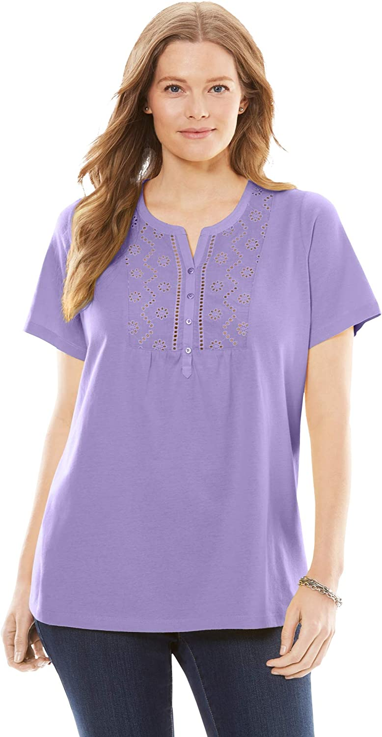 Woman Direct stock discount Within Women's Plus Size Tee Eyelet Shirt NEW before selling ☆ Henley
