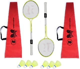 ZoraX Multicolor Double Shaft Badminton Racket Pack of 1 Pair Badminton with 2 Piece Cover and 6 Piece Plastic Shuttle