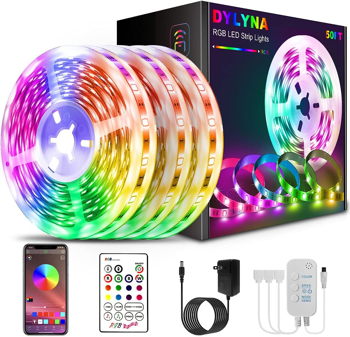 50ft Led Lights for Bedroom APP Colorado Springs Mall New sales Control Strip DYLYNA