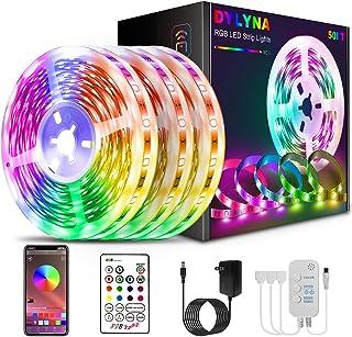 DYLYNA Led Strip Lights 50ft, Music Sync Color Change Led Lights for Bedroom,5050 SMD RGB Led Light Strips with Remote App...