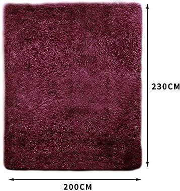 Floor Rugs Shaggy Rug Large Mats Shag Bedroom Living Room Mat 230x200cm Burgundy 230x 200cm in Burgundy