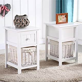 2pcs Country Style Two-Tier Night Stands with Drawer and Basket White Dropshipping
