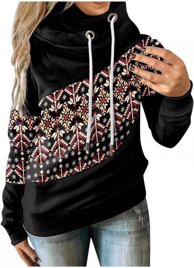Fall Sweatshirts for Women, Women Long Sleeve Aztec Sweaters Casual Turtleneck Hoodie Lightweight Loose Hooded Pullover