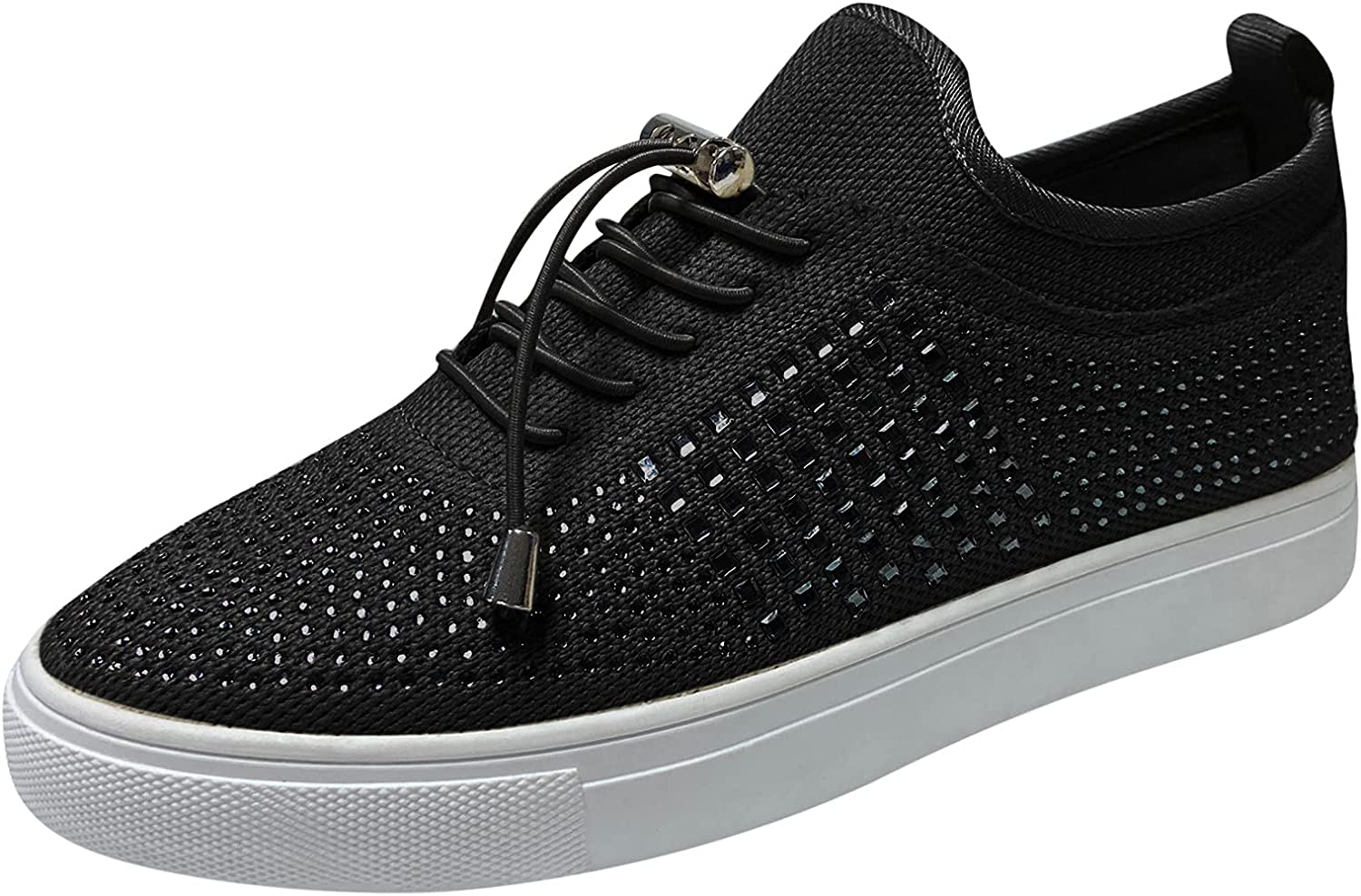 Eariuhfj Women Flat Crystal Slip-On Lace Sneakers Up Shoes Max 90% OFF Special price for a limited time