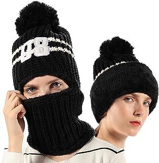 FLY HAWK Women Girls Kids Knit Beanie Mask Balaclava Hat Winter Outdoor Ski Cycling Cap