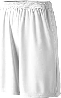 Augusta Sportswear 814 Boys' Longer Length Wicking Short with Pockets White Medium