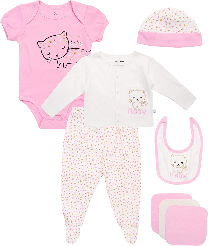 Duck Duck Goose Newborn Baby Girls' Take Me Home Layette Gift Set (9 Piece)