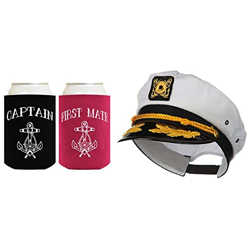 ThisWear Captain Hat Yacht Cap Funny Beer Coolie Captain and First Mate Can  Coolie Bundle b321bc3ced54
