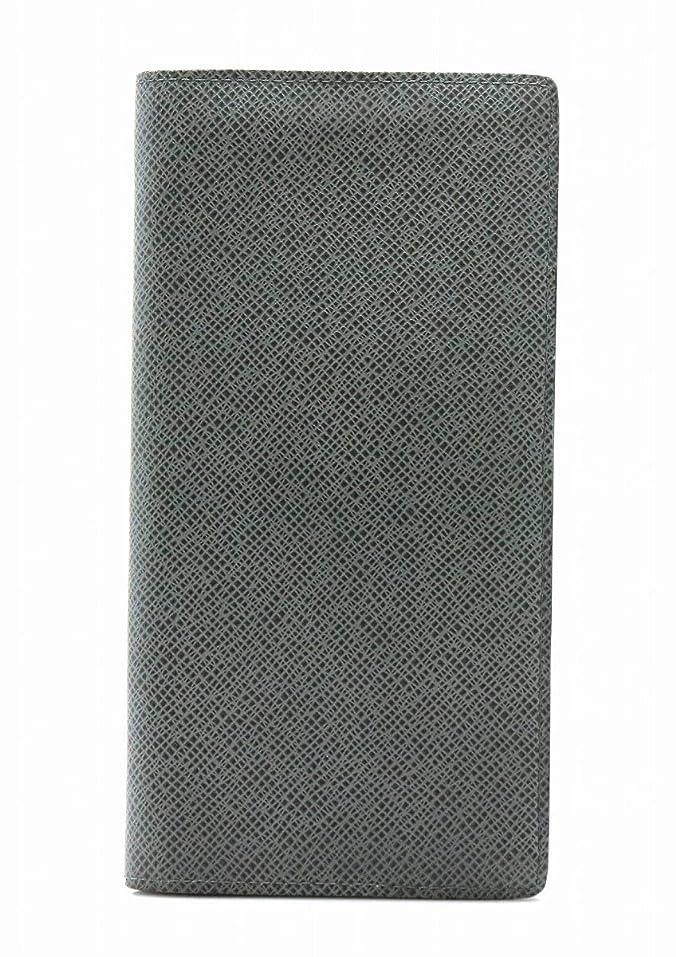前兆溶接予測子[ルイ ヴィトン] LOUIS VUITTON タイガ ポルトフォイユ ブラザ 2つ折 長財布 グラシエ グレー メンズ イニシャル入り M32653